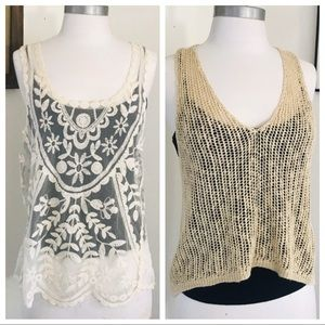2 Beige Lace Knitted Tanks & Banana Republic Cami